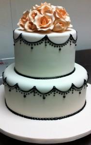 W9 - Black Pearl two tier wedding cakes sydney