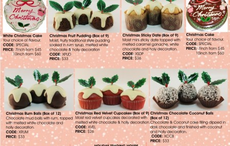 All I want for Christmas is DESSERT!!! Check out our full range of Christmas desserts including rum balls, choc coconut balls, red velvet cupcakes, mini sticky dates, cakes and more! View our seasonal products page for all information and pricing. Gift hampers available, contact our office for orders!