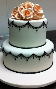 W9 - Black Pearl two tier wedding cakes sydney