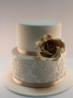 W5 - Floral Lace two tier wedding cake sydney
