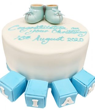Blue Booties and Block Christening Cake
