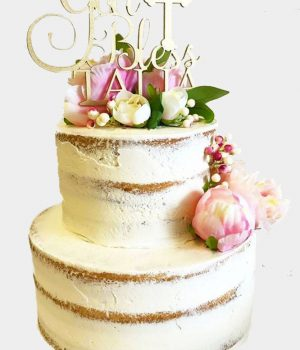 gold bless naked cake