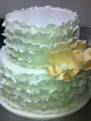 W26 - Ruffle Me UpTwo Tier Wedding Cake